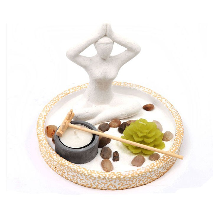Yoga Figurine Zen Garden Set , Fengshui zen garden ornament , Asian japanese zen garden