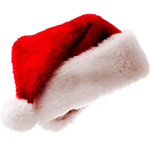 High quality xmas red long plush christmas santa ornament hats caps
