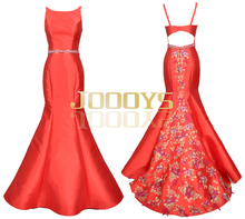 2016 Scoop Floral Embroidery Beaded Satin Backless Strap Red Wedding Dresses Party Prom Gowns Mermaid Evening Dress JS90243K
