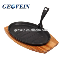 Cast iron oval grill pan detachable handle sizzler plate/Oval Shape Cast Iron Sizzler Dishes Serving Plates With Wooden Stand