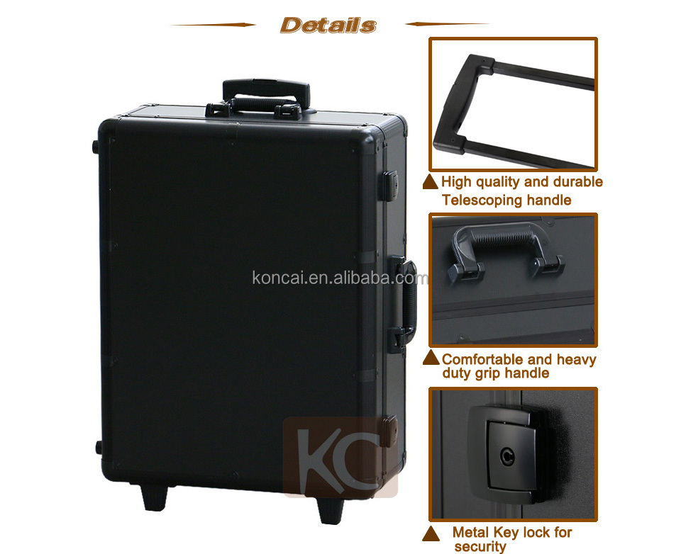 Aluminum professional with lighted mirror & standsl rolling trolley cosmetic makeup beauty case