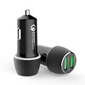 for olfor ipad 110 car charger,QC3.0 dual port usb car charger for blackberry playbook,led light with car charger QC3.0