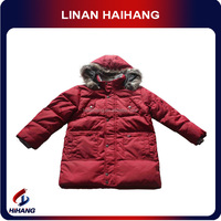high quality nylon fur hooded baby boy dress coat manufacturer