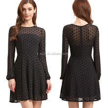 evening dress long sleeve plain frock design one-piece party dress black sheer sleeve lace polka dot mesh skater dresses