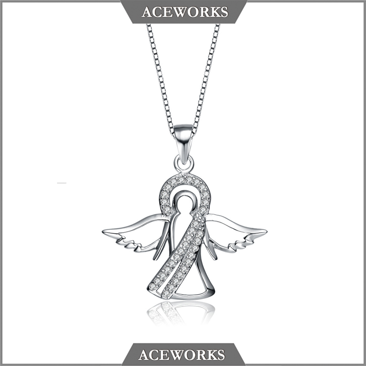 PT1222 Aceworks Wholesale Angel 925 Sterling Silver Necklace Pendant with Zircon