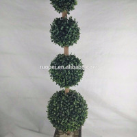 Four Sphere Topiary Artificial Boxwood Plants