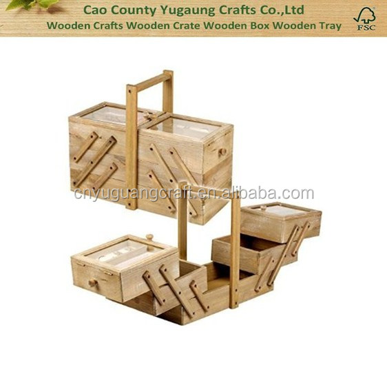 Custom wood display box Style Wooden Sewing Box large custom folding sewing box