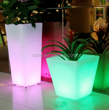 led glowing garden tall pot park plant outdoor plastic flower vase