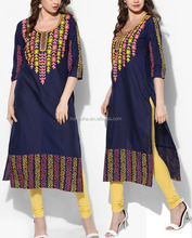 Blue Cotton Embroidered Kurta Designer Neck Hand embroidery Designs For Kurtis HSD5718