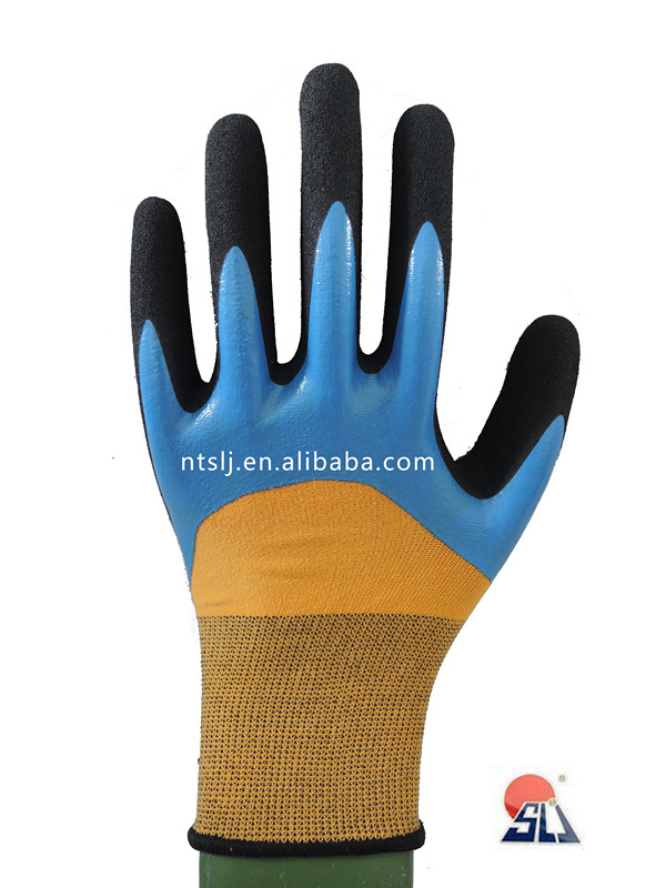 SLJsafety Scrub &nitrile dipped Nylon and spandex gloves