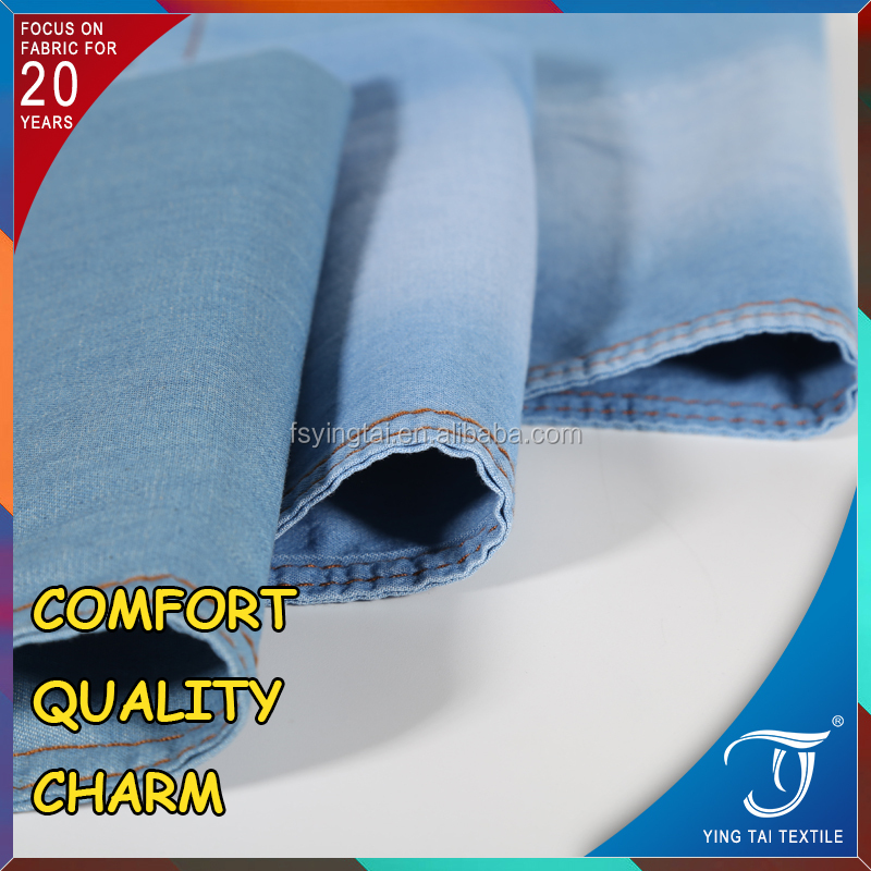 Anytime on service!!STOCK!!Cotton denim jeans fabric stock blue color denim fabric TC spandex denim fabric