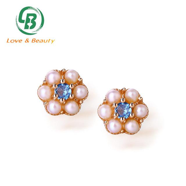 Blue topaz flower stud beaded pearl sterling silver stud earrings