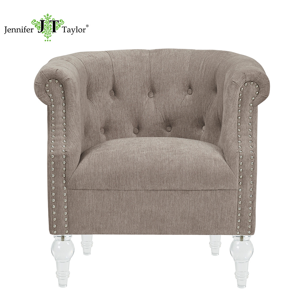 home furniture modern club leisure <strong>chair</strong> with acrylic legs fabric upholstery single seat chesterfield sofa tufted armchair