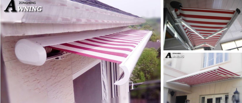 2018 popular Balcony New Sensor Controlled Aluminum Full Cassette Retractable Awnings