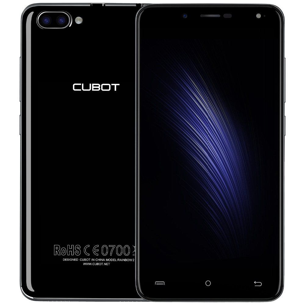 Original CUBOT RAINBOW 2 MT6580A 5.0 Inch Quad-Core 1.3GHz Cell <strong>phones</strong> <strong>Android</strong> 7.0 2 back camera RAM1G ROM16G Mobile <strong>phone</strong>
