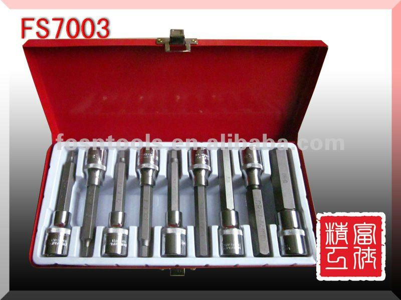 9-delig E-Socket / 9-delig star-dop set auto tool kit in metal box