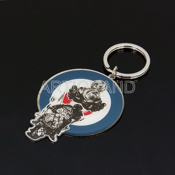 Promotional epoxy domed sticker stainless iron keychain