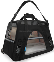 Black Pet travelling Accessories, pet carrier Nylon Mesh Fleece 600D oxford, Made in China Pet Carrier