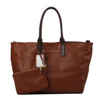 S298-B2409 2014 soft plain cow leather bag women's handbag large tote bag with removable purse
