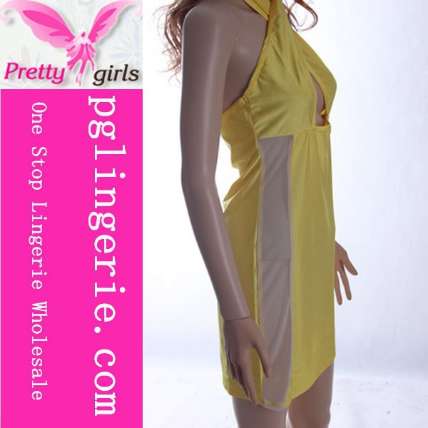 Sexy yellow tea length dress party dress