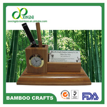 OEM Multifunctional Bamboo Pen holder with clock and name card holder
