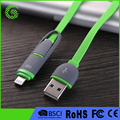2 in 1noodle charging 2.1A 3A USB 3.1 type c cable for Apple Micro charger