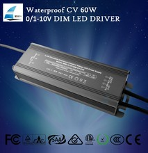 IP67 Waterproof 0/1-10V dimmable Constant Voltage 12V/24V 60W led Power Supply with five years warranty