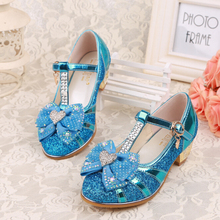 Hot Selling Fashion Shiny Crystal Princess Leather Kids High Heel Shoes
