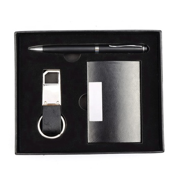 2019 business card holder pen keychain promotion gift set with logo
