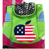 Flag print PU leather drawstring backpack bag girls leather backpack bags
