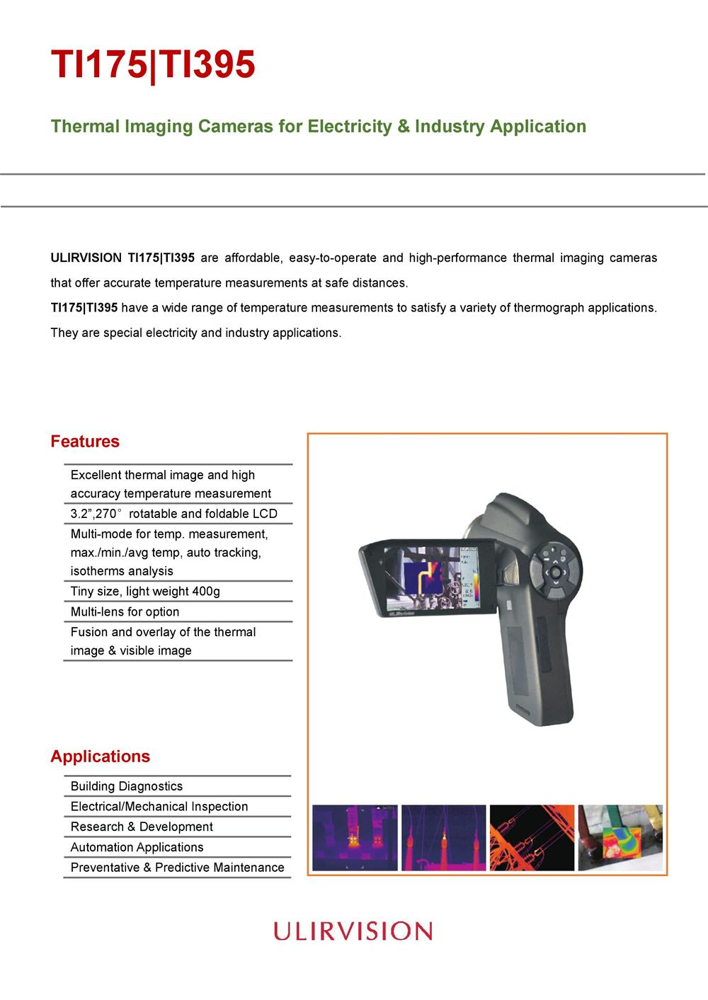 ULIRVISION Portable Thermal imaging camera for various industries TI395
