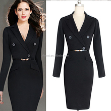 In stock new women big size long sleeve straight dress for office ladies suit delicate belt
