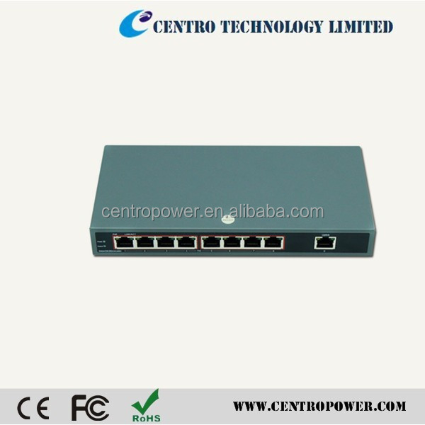 Alibaba China Ethernet poe switch pcb board with 8 PoE injector and DC adaptor