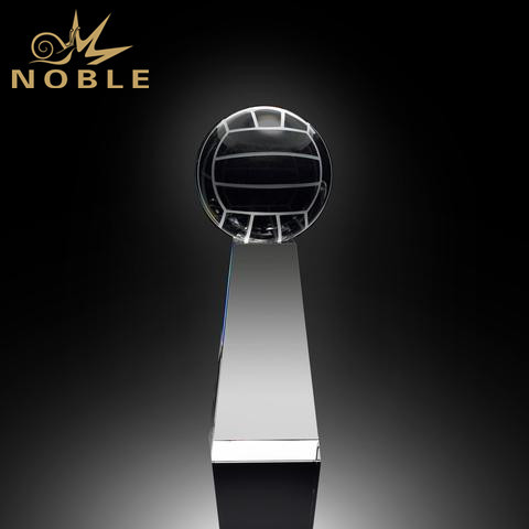 Cheap Sports Ball Souvenir Gifts Black Crystal Volleyball Trophy