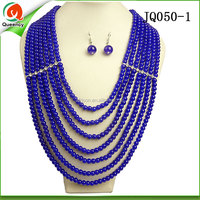 royal blue beaded necklace pearl jewelry necklace and earings set for sale