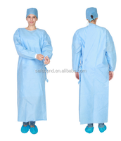 High quality SMS hospital sterile disposable non woven green surgical gown