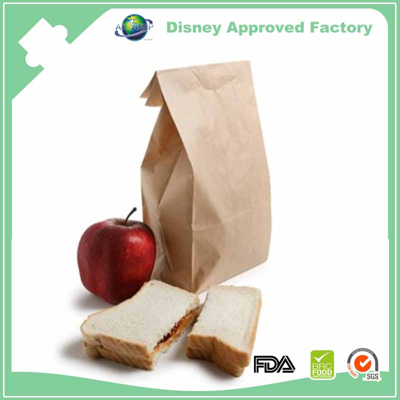 Bottom gusseted safe and nontoxic bread packaging paper bags