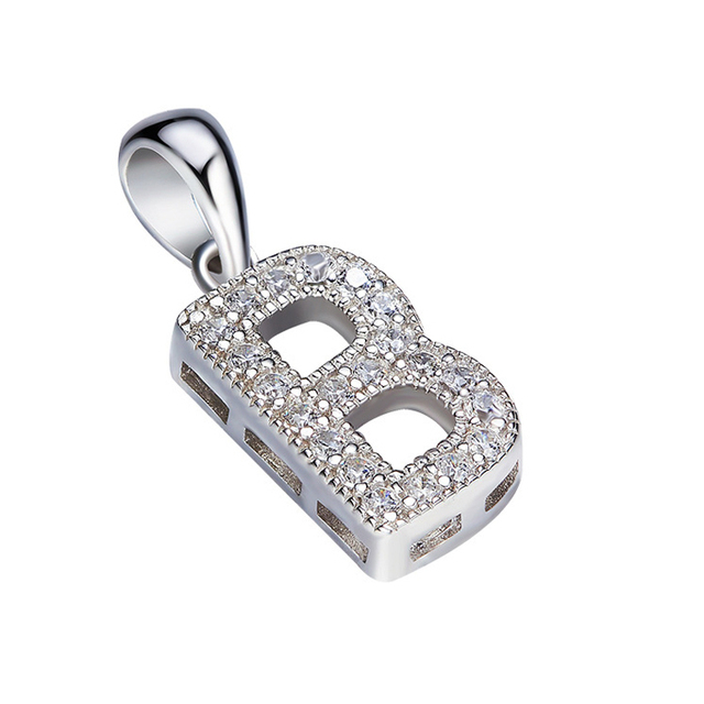 925 Sterling Silver Letter B Diamond Pendant Necklace Silver Pendant Jewelry