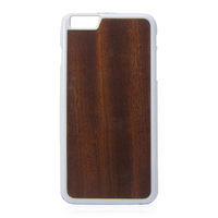 PC wooden cell phone case for iphone 6,PC bottom white wooden stick trapezoidal hole camera case for Iphone6