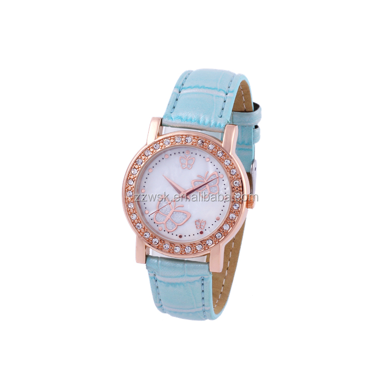 Alloy case with stone dial with butterfly wrist quartz lady watch for promotional