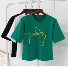 Summer O Neck Women T shirt Rabbit Animal Embroidered Loose Short Sleeves Harajuku Style Cotton T-shirt Cute Girl Casual Tops