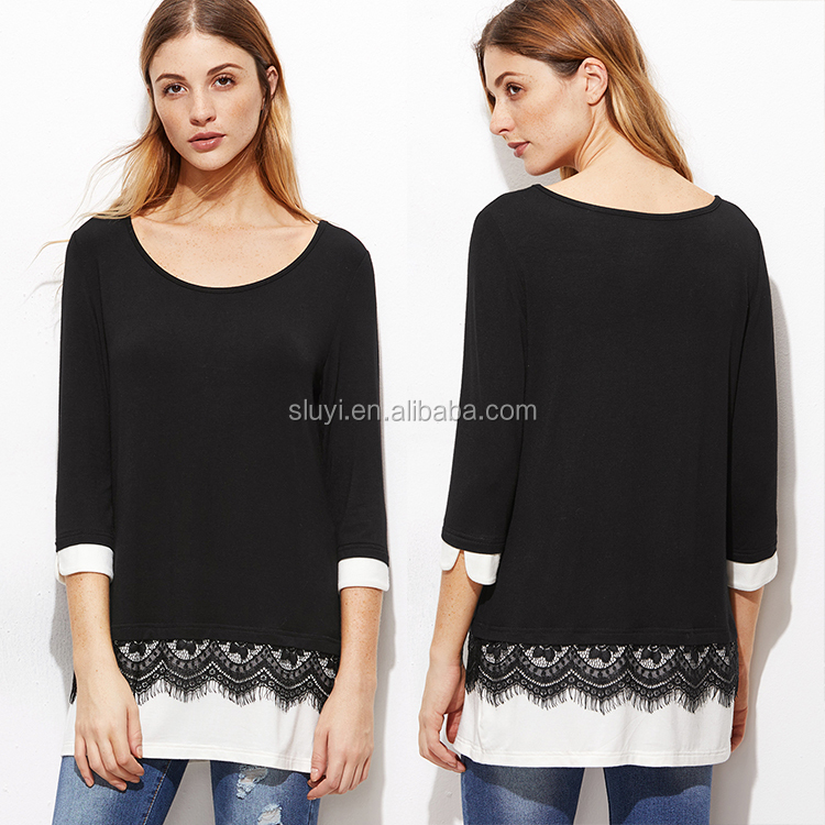 dry fit t-shirt wholesale online black lace trim 3/4 sleeve basic t shirt contrast cuff and hem t-shirt size s m l xl xxl xxxl