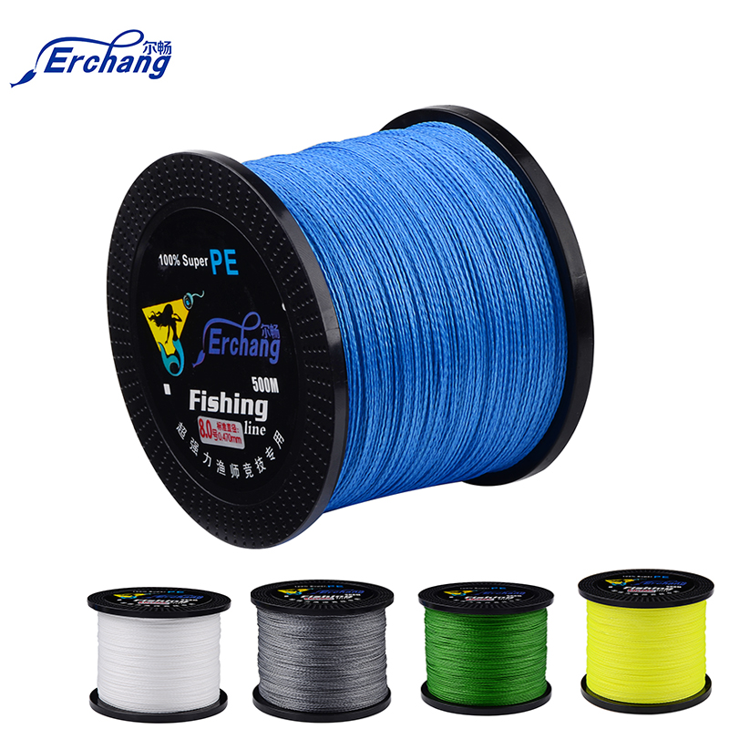 Erchang 500M 4 Strand Weaves Fishing Lines <strong>PE</strong> Braided Super Strong Multifilament <strong>PE</strong> Braided Fishing Line