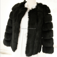 Ladies fox fur leather jacket women slim fit overcoat very warm winter coats faux fox collar and cuff ladies