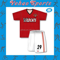 Red lattice design soccer uniform blue and white stripe design