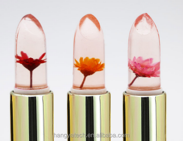 Factory OEM gold foil Transparent Flower Jelly Lipstick Temperature Change Color with Crystal Case
