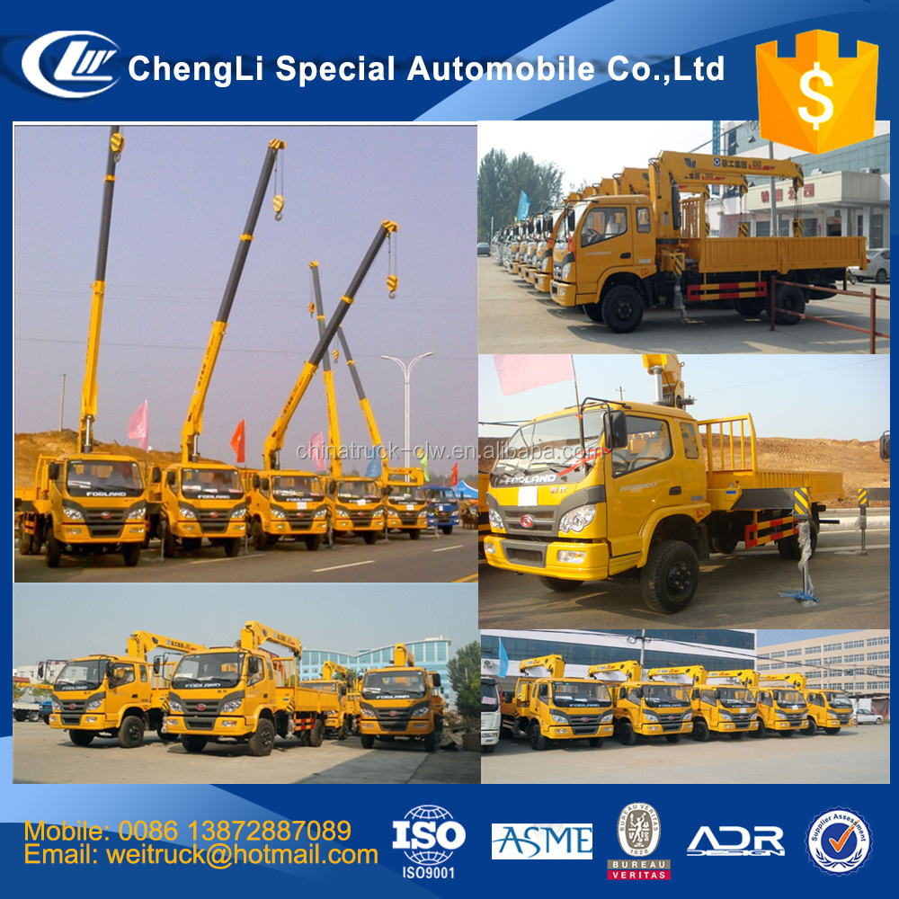 Factory direct supply forland 4x4 truck mounted crane for sale, china street light crane truck, crane on cargo truck