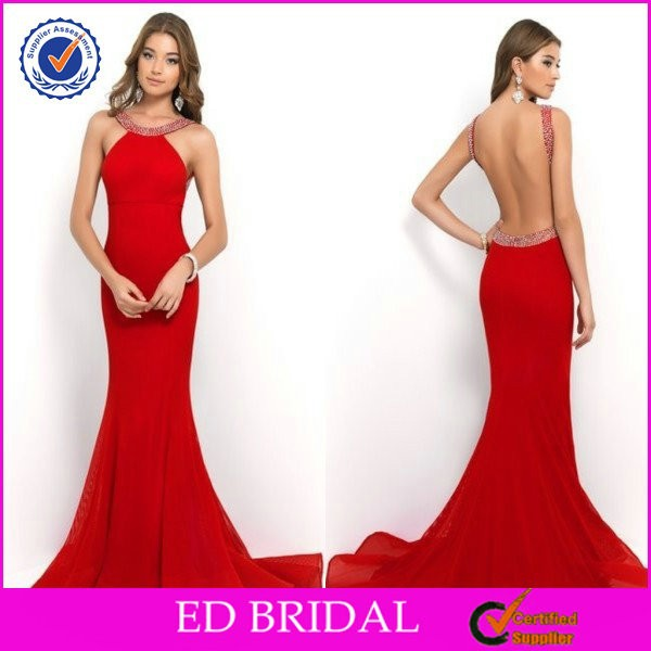 Sexy Hot Mermaid Backless Thick Straps Beaded 2014 Red Prom Dresses