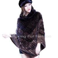 CX-B-M-100 Woman's Winter Poncho Style Real Mink Fur Shawls
