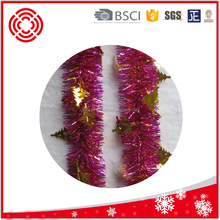 Hot selling 2Meters Foil Christmas Tinsel Garland With Decorations, Pink/Gold